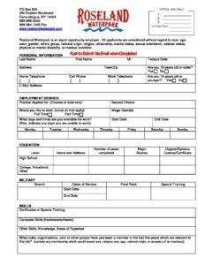 roseland waterpark employment application form roseland waterpark